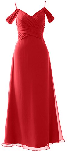 MACloth Elegant Off the Shoulder Long Bridesmaid Dress Wedding Party Formal Gown Rojo