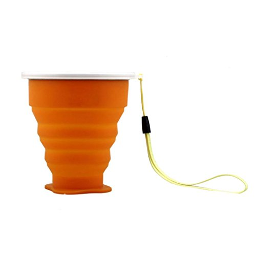 Laimeng, Outdoor Portable Collapsible Creative Metal ring Transparent Cover Cup (Orange)