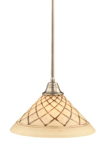 - Toltec Lighting 26-BN-718 Stem Pendant Light Brushed Nickel Finish with Chocolate Icing Glass Shade, 16-Inch