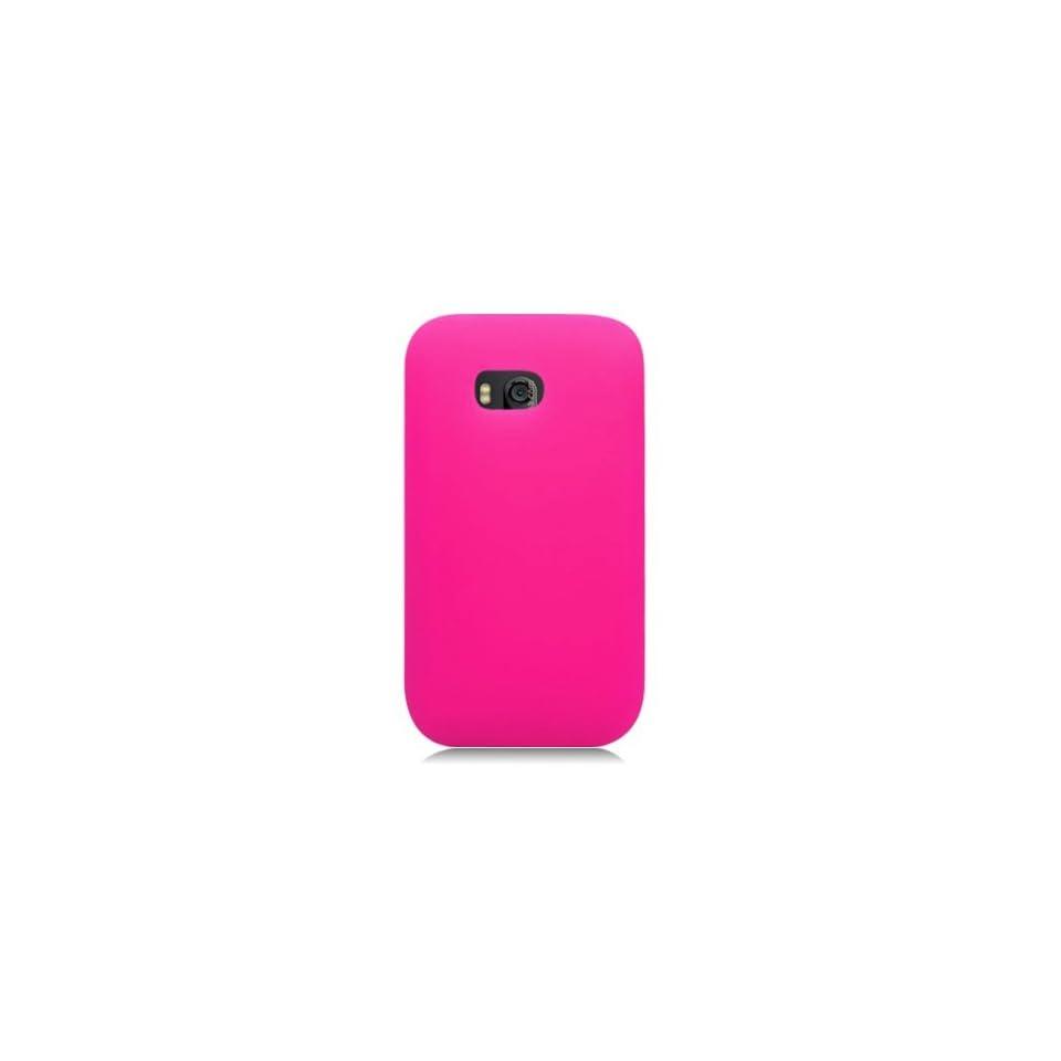 Bundle Accessory For Verizon Nokia Lumia 822   Pink Silicon Skin Case Protective Cover + Lf Stylus Pen + Lf Screen Wiper