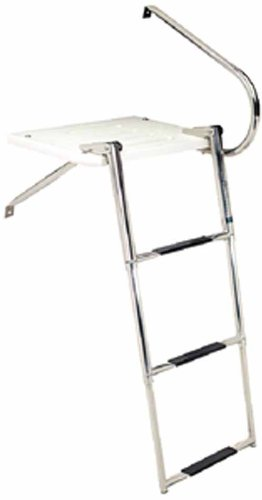 Seachoice 71361 Universal Swim Platform with Top-Mount Telescoping Ladder – 3 Step Ladder – Inboard/Outboard