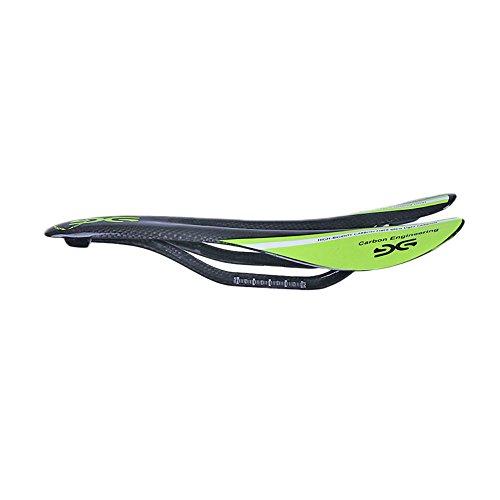 ELITA ONE Super Light Full Carbon Fiber Saddle Road/Mountain Bicycle seat Saddle, Ultralight Bike Parts seat Cushion 95g 3k Matt/Glossy (Green Glossy)
