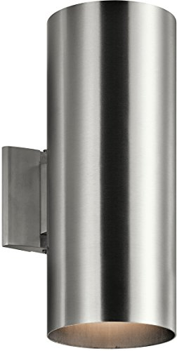 Kichler 9246BA Outdoor Wall Sconce, 2 Light Incandescent 240 Total Watts, Brushed Aluminum