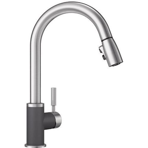Blanco 442065 Sonoma 2.2 Bar Sink Faucet, Cinder/Stainless Dual Finish