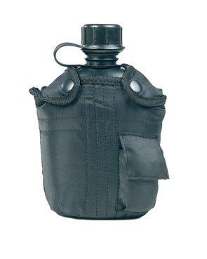 Feldflasche US ARMY Style aus Kunststoff mit Tasche, schwarz Schwarz
