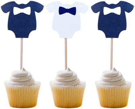 Baby Shower Cake Cupcake Snack Toppers Picks for Boy Baby Shower Decorations Supplies Blue & White Baby Jumpsuits , Baby Boy Birthday Party Accessories - 24 PCS