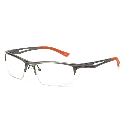 Langford Half Rimless Pliable Arm Sports Eyeglasses For Men With Non Prescription Lens 57mm gm123 - Half Rimless Eyeglasses