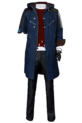 Nero Long Casual Coat Devil May Cry V Cosplay Costume Hoodie Full Outfit,Small]()