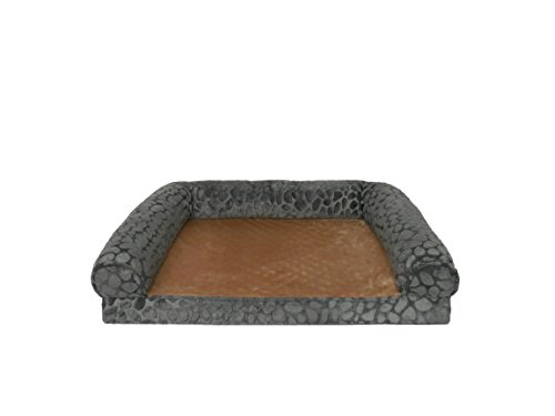 Canine Creations Orthopedic Pebble Embossed Mink Rectangle Bolster Pet Bed, 36 by 27-Inch, Dark Gray For Sale