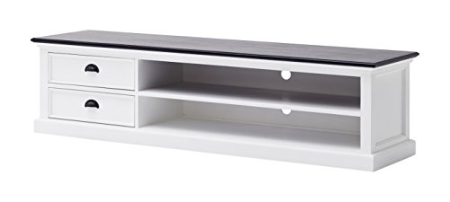 NovaSolo Halifax Contrast Mahogany Entertainment Unit, Large, White by NovaSolo