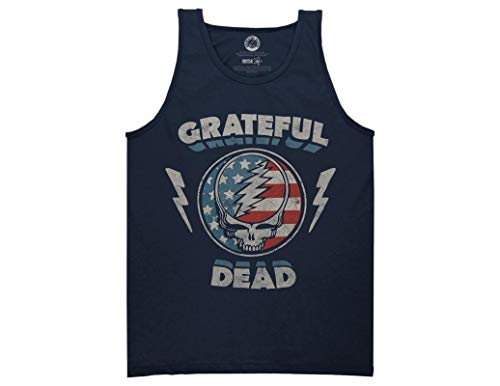 (Ripple Junction Grateful Dead Adult Unisex Steal Your Face Stars and Stripes Light Weight 100% Cotton Muscle Tank Top MD Navy)