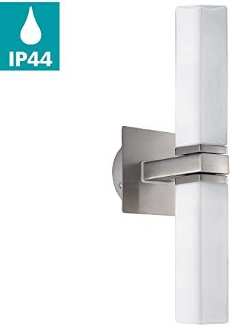 EGLO Wandlampe Palermo, 2 flammige Wandleuchte, Material: Stahl, Glas, Farbe: Nickel matt, weiß, Fassung: G9, IP44