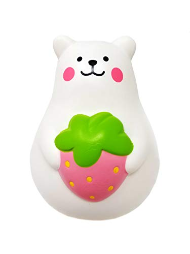ibloom Slow Rising [Squishy Collection] Marshmallow Bear Mini Mr. White Strawberry [Scented] Animal Squishy Kids Cute Adorable Doll Stress Relief Toy Decorative Props [Pink]