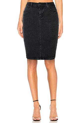 - Women's Stretch Denim High Waist Pencil Skirt Midi Knee Length