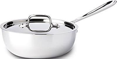 All-Clad 4213 Stainless Steel Tri-Ply Bonded Dishwasher Safe Saucier Pan with Lid / Cookware, 3-Quart, Silver by All-Clad Cookware