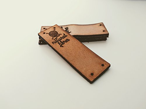 3DP Natural Fibres A | Folding Leather Labels Knitting Needles | 15 pcs | Exclusive Engraved Genuine Italian Leather Tags