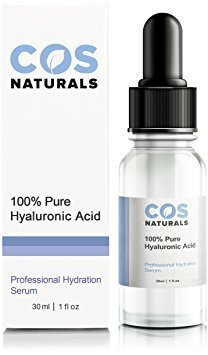 Cos Naturals 100  Pure Hyaluronic Acid Serum Organic Anti Aging Moisturizer For Face And Skin  1 Oz