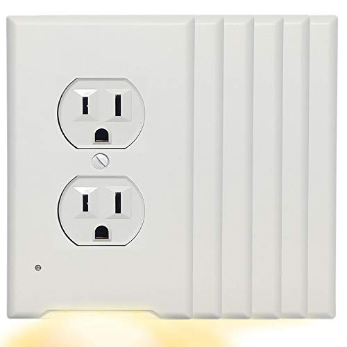 6Pack Duplex Wall Outlet Cover Plate With 3000K Warm White LED Night Light-No Wires Or Batteries,Light Sensor Auto Guidelight,Install easy,0.3W High Brightness LED,Unsuitable Decor,GFCI,Switch