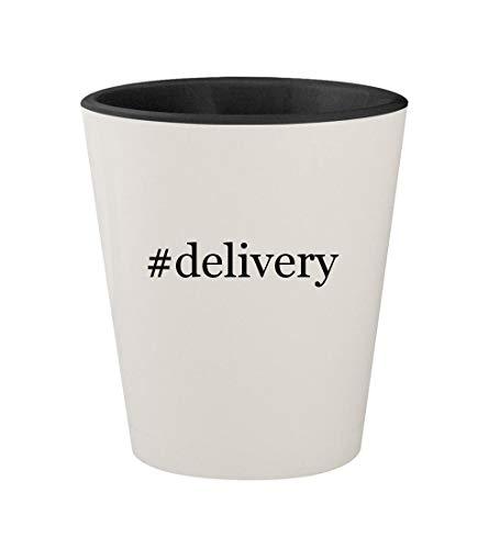 #delivery - Ceramic Hashtag White Outer & Black Inner 1.5oz Shot Glass