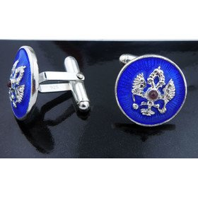 Jewelry-Chains Cufflinks Double Headed Eagle Sterling Silver & Enameled