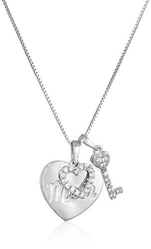 Sterling Silver Created Pink and White Sapphire Heart and Key Charm Mom Pendant Necklace, 18
