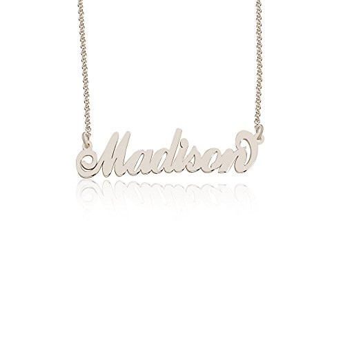 Personalized Madison Name Necklace, Custom made in stock, Sterling Silver (Name Silver Pendant Personalized Sterling)