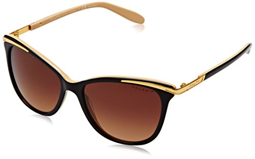 Ralph by Ralph Lauren Women's RA5203 1090T5 Black Plastic Cat Eye Polarized - Ralph Eyeglasses Lauren Womens