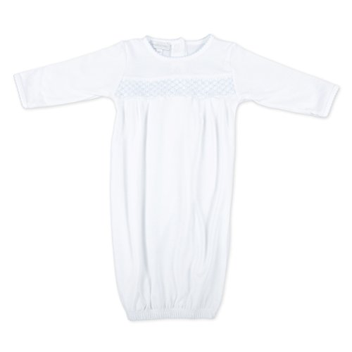 Magnolia Baby Baby Boy MB Essentials Smocked Gown White Blue