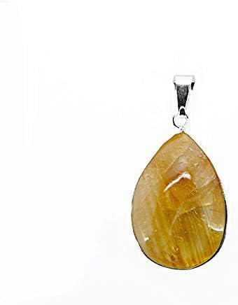 Colgante Lagrima de Citrino calentado - Baño de Plata Minerales y Cristales para curación, Belleza energética, Meditacion, Medicina Alternativa, Amuletos Espirituales