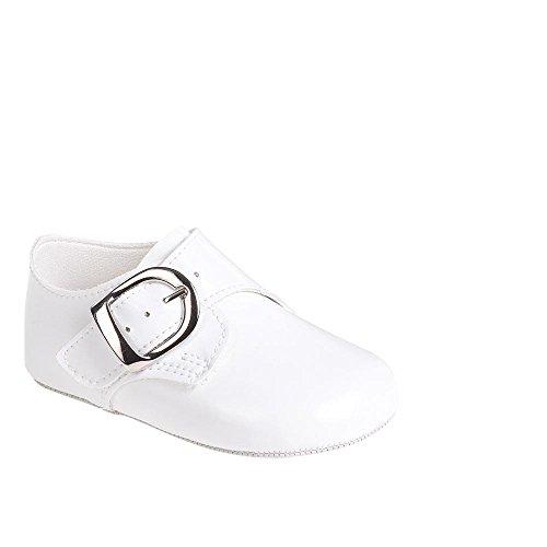 MGT-Shop Jungen Taufschuhe Baby Schuhe Leder Sandalen Taufe Hochzeit B656 (12-18 Monate, weiß)