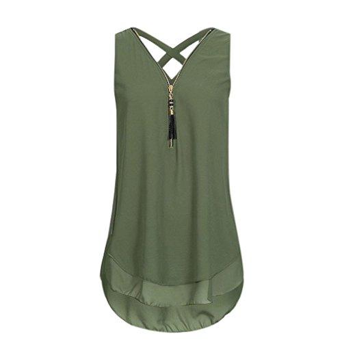 CUCUHAM Women Loose Sleeveless Tank Top Cross Back Hem Layed Zipper V-Neck T Shirts Tops(A-Green, ()