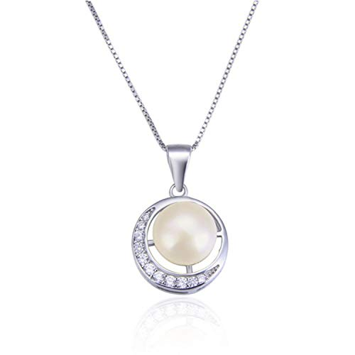 Freshwater Pearl Moon Pendant Necklaces for Women Round Pearl Cz Zircon Necklace Link Chain,No Chain