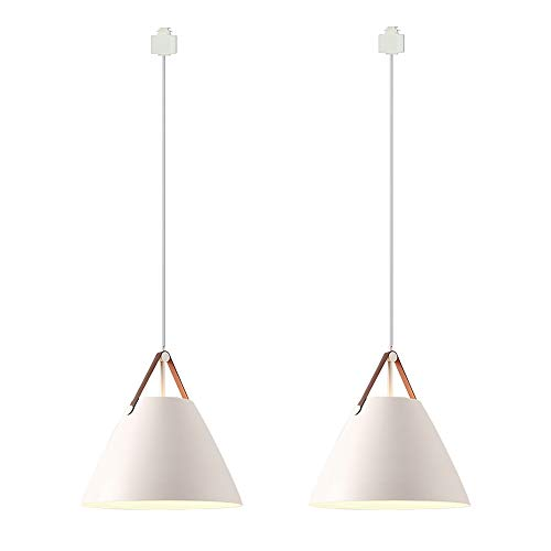 ANYE 2-Pack White Color Lampshade H-Type Track Light Pendants Nordic Chandelier Modern Minimalist Pendant Lighting E26 Bulb Not Included