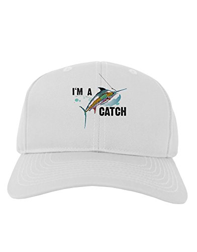 [TooLoud I'm A Catch Swordfish Adult Baseball Cap Hat - White] (Funny Hats For Sale)