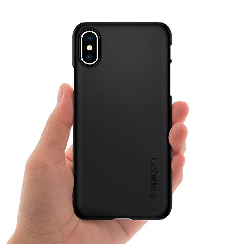 Spigen Thin Fit iPhone X Case with SF Coated Non Slip Matte Surface for Excellent Grip and QNMP Compatible for Apple iPhone X (2017) – Matte Black