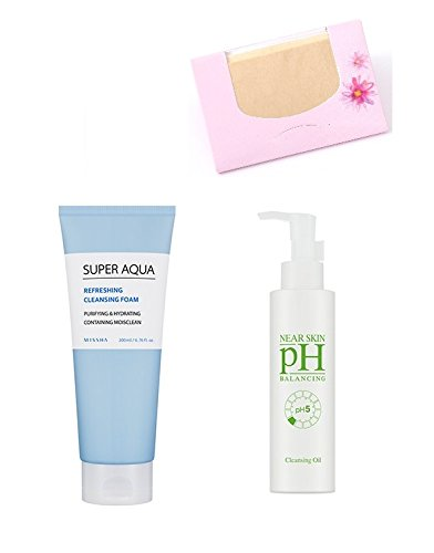 Price comparison product image Bundle - MISSHA Super Aqua Refreshing Cleansing Foam 200ml+ MISSHA Near Skin pH Balancing Cleansing Oil 150ml + SoltreeBundle Natural Hemp Paper 50pcs