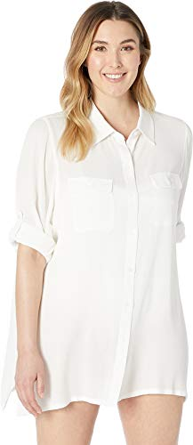 Lauren Ralph Lauren Women's Plus Size Crinkle Rayon Cover-Up Camp Shirt White -
