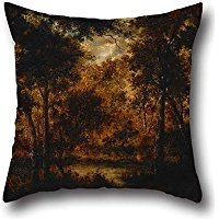 Oil Painting Diaz De La Peña, Narcisse Virgile - The Fairy Pool Throw Pillow Covers 16 X 16 Inches / 40 By 40 Cm Gift Or Decor For Home Theater,gril Friend,chair,kids Room,father - Two Sides