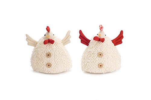 Diva At Home Pack of 4 White and Red Short Chicken Shelf Sitters Tabletop Decor 8
