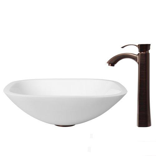 low-cost VIGO Square Shaped White Phoenix Stone Vessel Sink and Otis Vessel  Faucet with