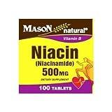 Mason Natural Niacin (Niacinamide) 500 Mg Vitamin B Tablets – 100 Ea For Sale