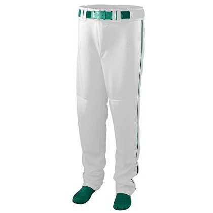 Youth Series Baseball/Softball Pant with Piping - WHITE and GREEN -MEDIUM by Augusta Sportswear