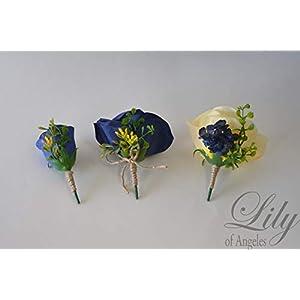 Wedding Bouquet, Bridal Bouquet, Bridesmaid Bouquet, Silk Flower Bouquet, Wedding Flower, Yellow, Sunflower, mini Sunflower, navy blue, blue, dark blue, navy, burlap, rustic, greenery, Lily of Angeles 9