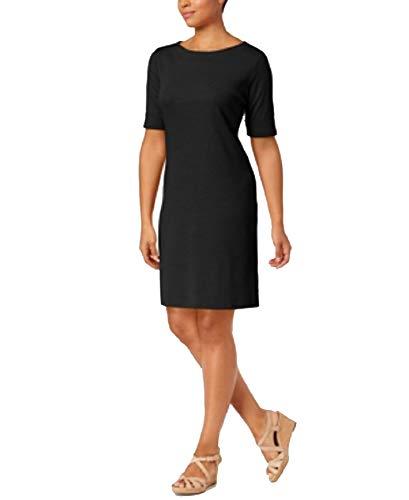 Karen Scott Petite Cotton Boat-Neck Shift Dress (Deep Black, PS)