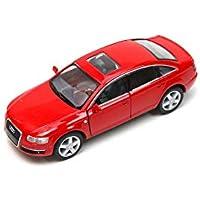 Plakalı Audi A6 1:38 Model Araba Kırmızı KT5303D