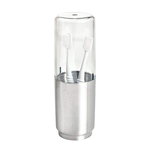 iDesign Austin Covered Toothbrush Holder, Holds Regular and Electric Toothbrushes - Clear Frost and Brushed