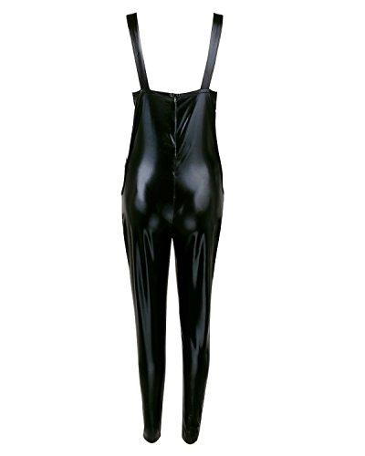 FEESHOW Damen PVC Leder Jumpsuit Frauen Lingerie Glänzend Catsuit Bodysuit Unterwäsche Reizwäsche Schwarz Dessous Nachtwäsche Clubwear Kostüm