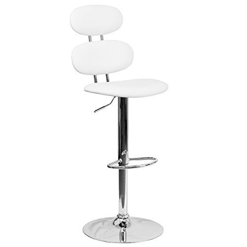 - Flash Furniture Contemporary White Vinyl Adjustable Height Barstool with Chrome Base