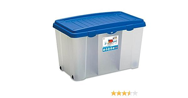 XXL Caja de plástico resistente (PP) con 120 litros de capacidad, dos paneles y cuatro ruedas. En Transparente con tapa en color azul. Tamaño Alto en cm: 80 x 47 x 51