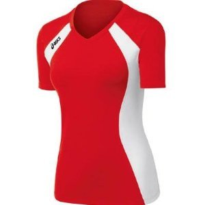 Asics Athletic Jersey - ASICS Women's Aggressor Volleyball Jersey (Red/White), Large